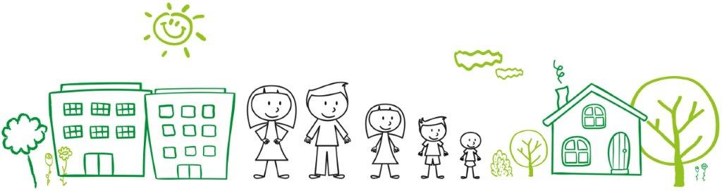 banner image showing a cartoon style family along with some buildings